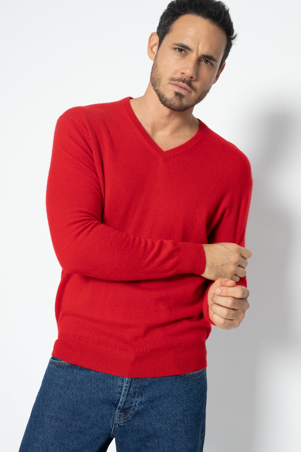 Pull Col V AGEL Rouge, 100% Cachemire
