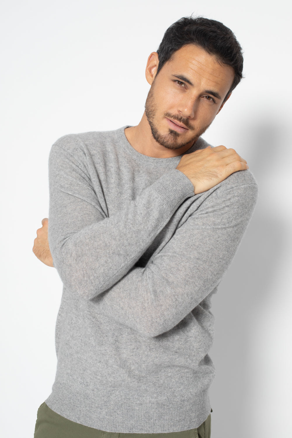 Pull Col Rond AIGLIERE Gris, 100% Cachemire