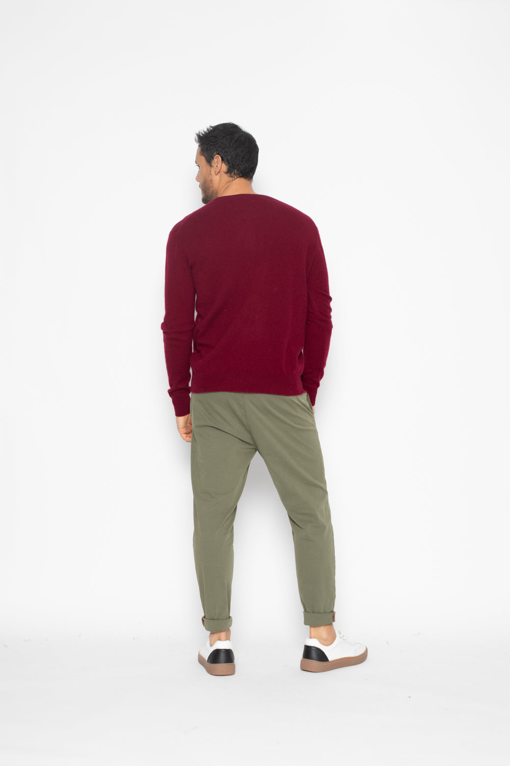 Pull Col Rond AIGLIERE Bordeaux, 100% Cachemire