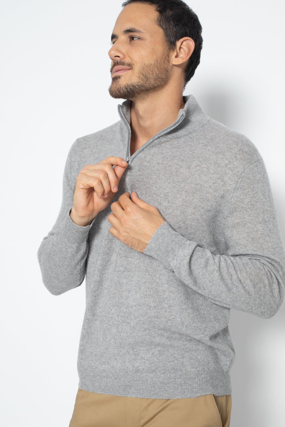 Pull Camionneur ambin Gris Chine 100% Cachemire