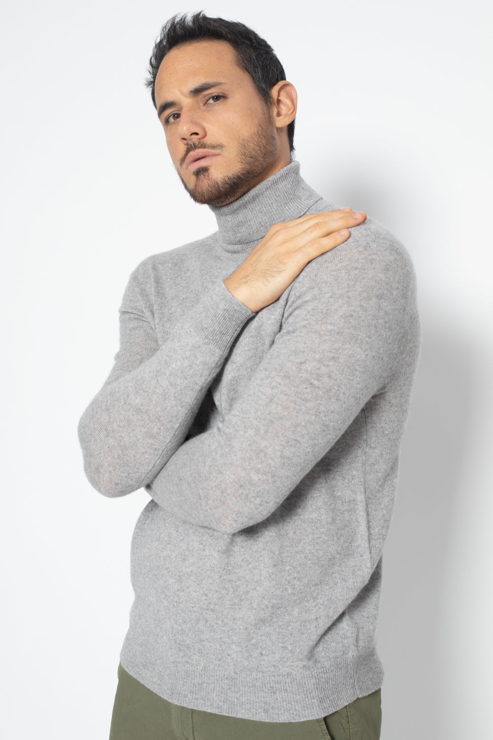 Pull Col Roule BANGE Gris, 100% Cachemire