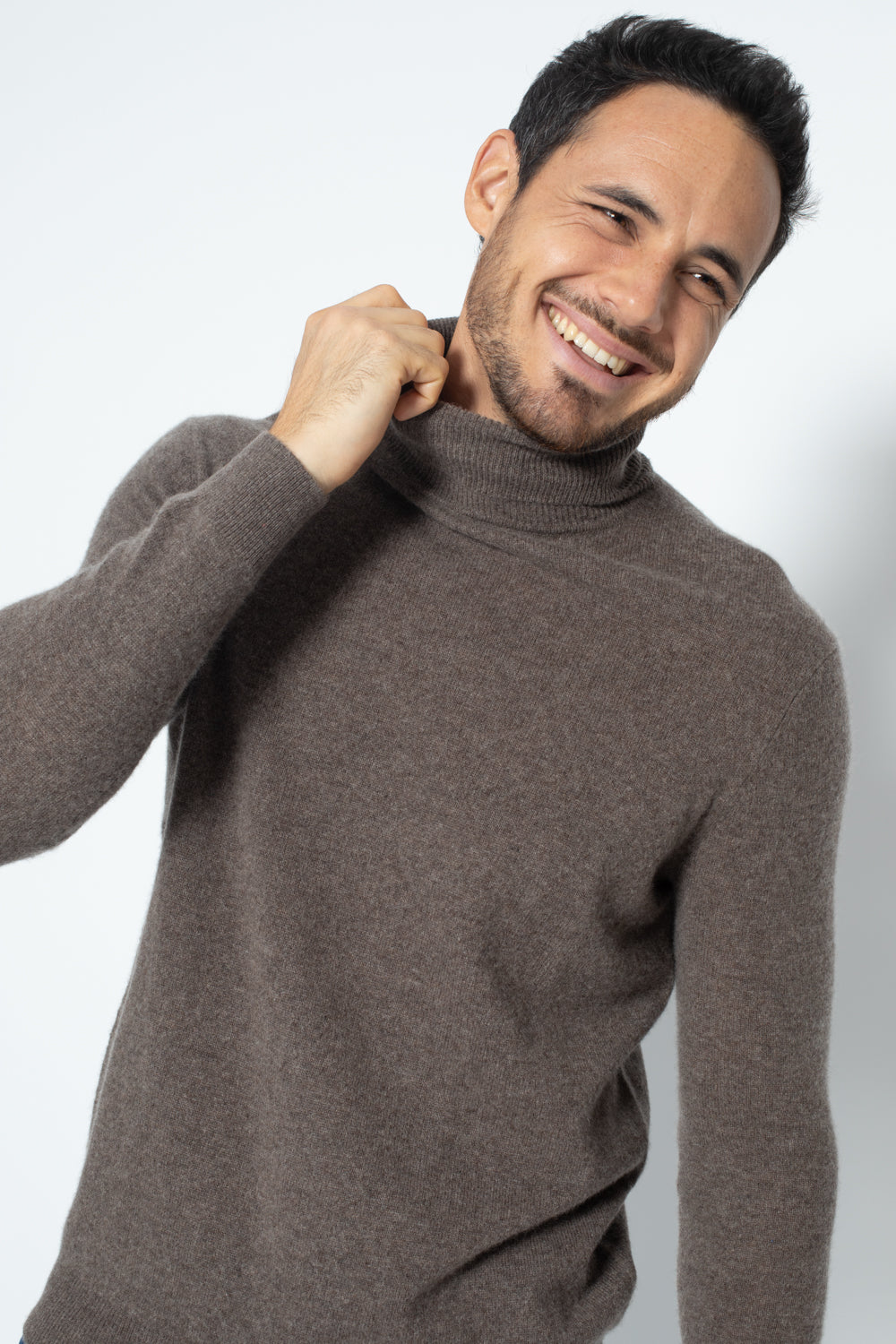 Pull Col Roule BANGE Taupe, 100% Cachemire