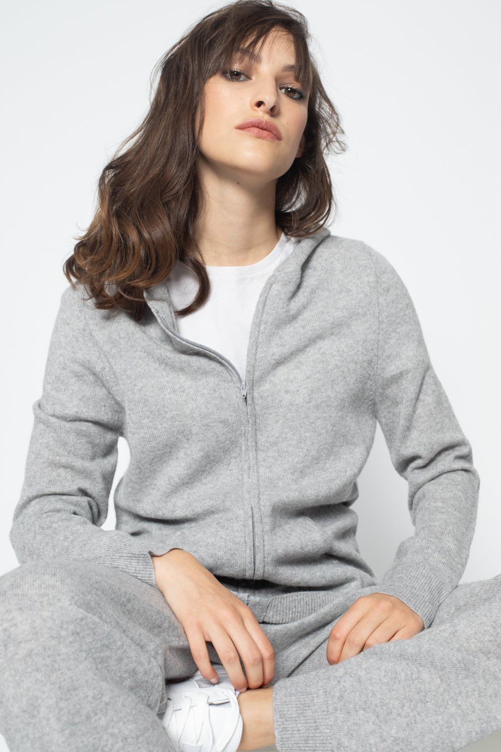 Hoodie COLOMBIS Gris, 100% Cachemire