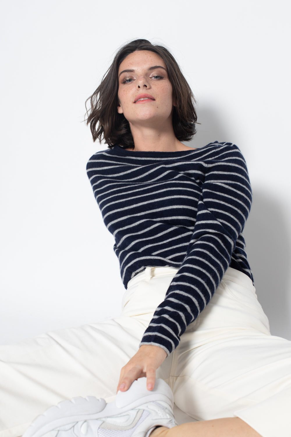 Pull Col Bateau CRIOU Rayures Navy / Gris Chine, 100% Cachemire