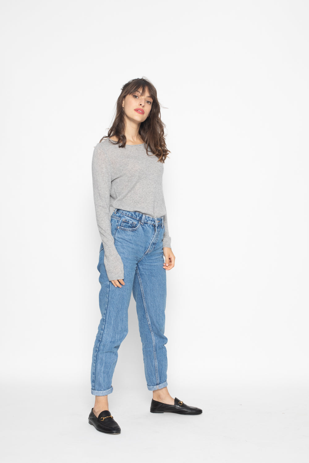 Pull Col Rond ECRIN Gris, 100% Cachemire