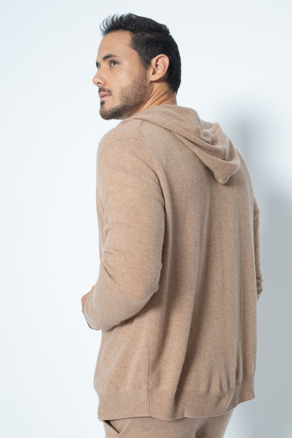 Hoodie neurre Camel 100% Cachemire