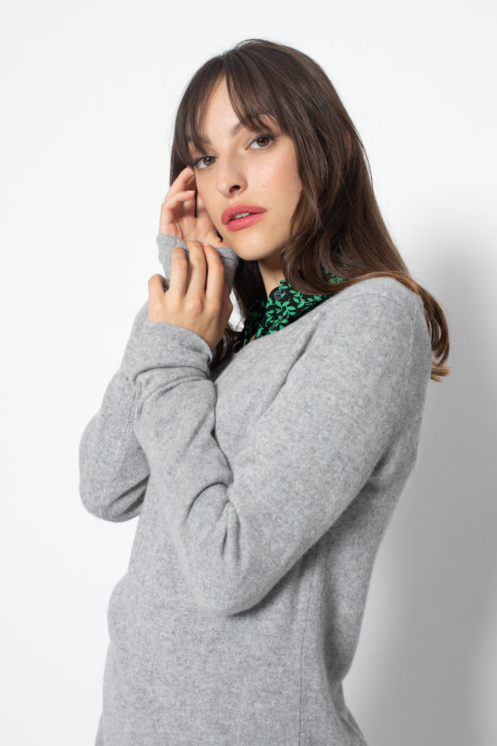 Pull Col Rond Ajuste EPENA Gris, 100% Cachemire