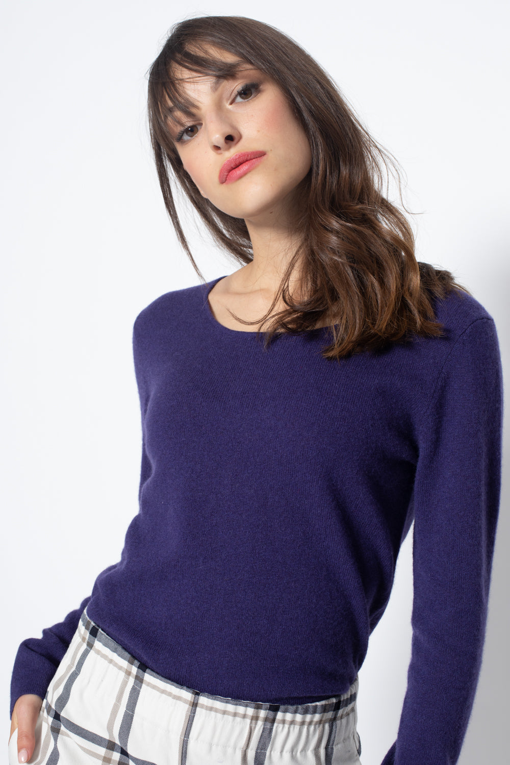 Pull Col Rond Ajuste EPENA Violet, 100% Cachemire