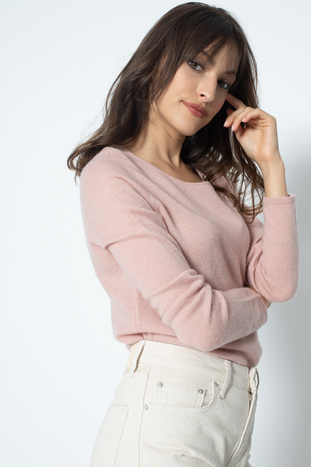 Pull Col Rond ECRIN Old Pink, 100% Cachemire