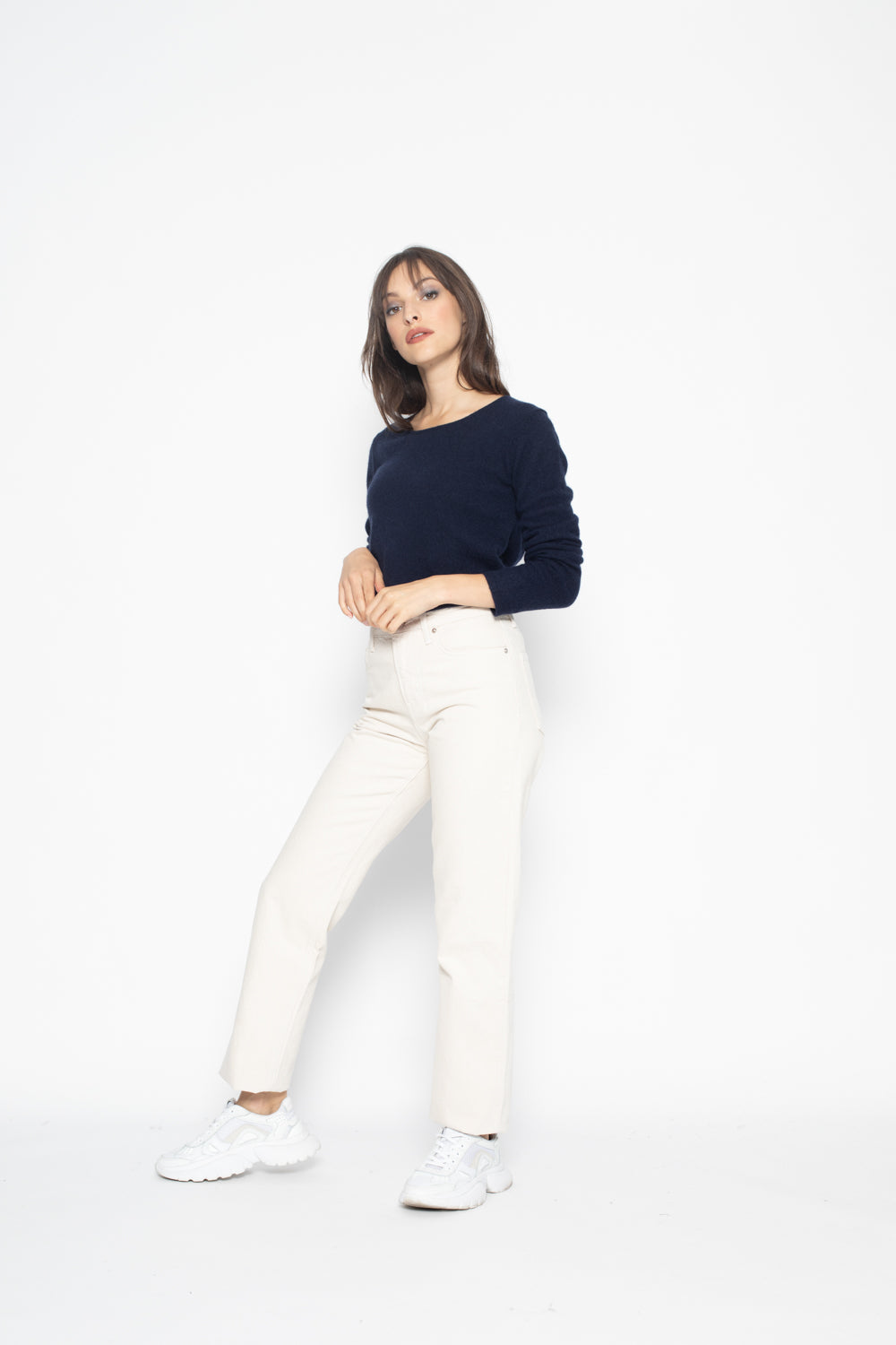 Pull Col Rond Ajuste EPENA Bleu Marine, 100% Cachemire