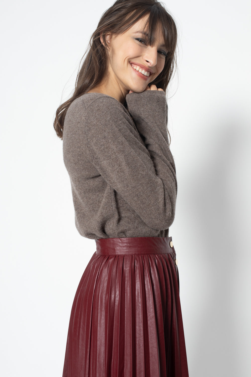 Pull Col Rond Ajuste EPENA Taupe, 100% Cachemire