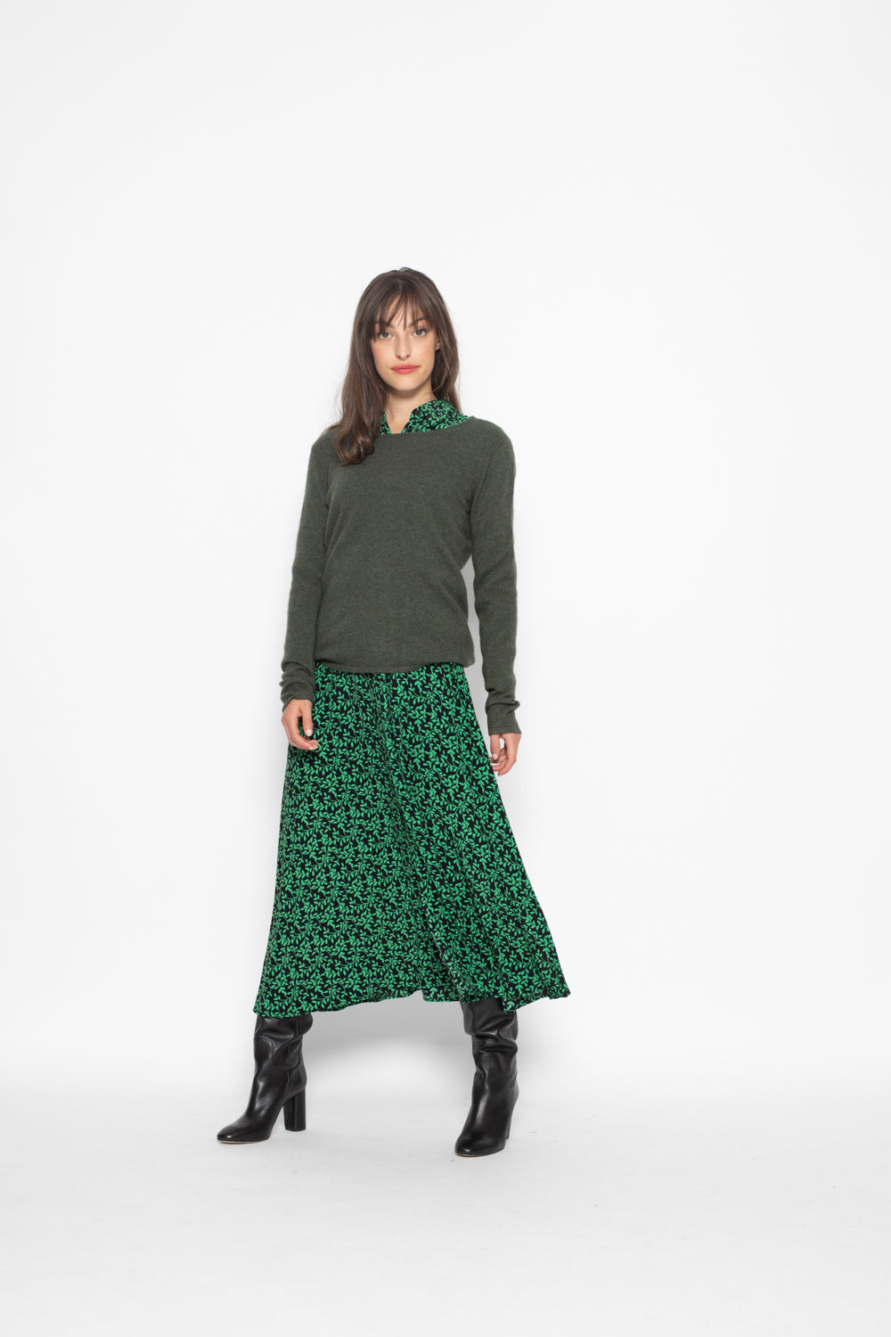 Pull Col Rond Ajuste EPENA Vert Fonce, 100% Cachemire