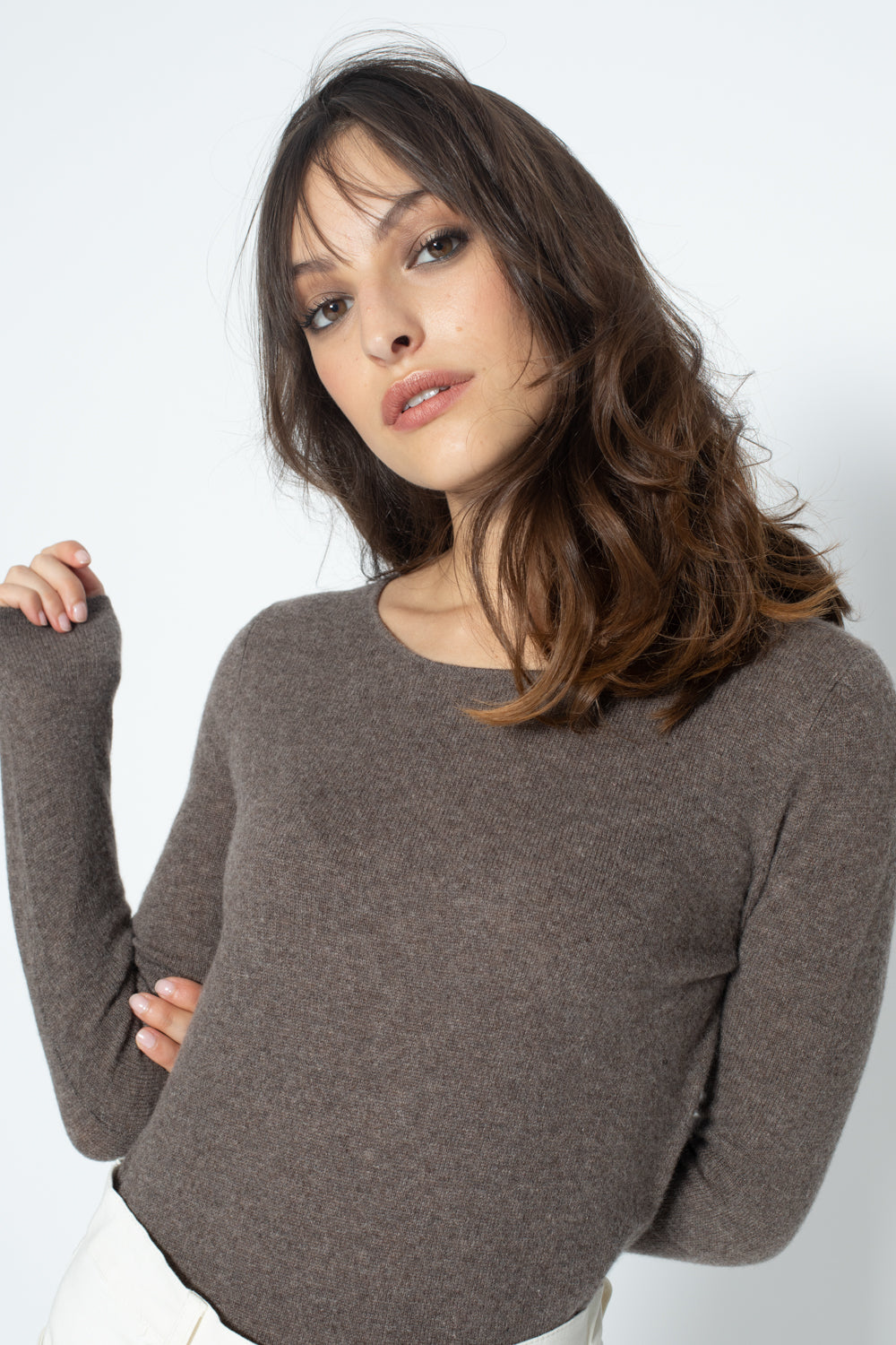 Pull Col Rond ECRIN Taupe, 100% Cachemire