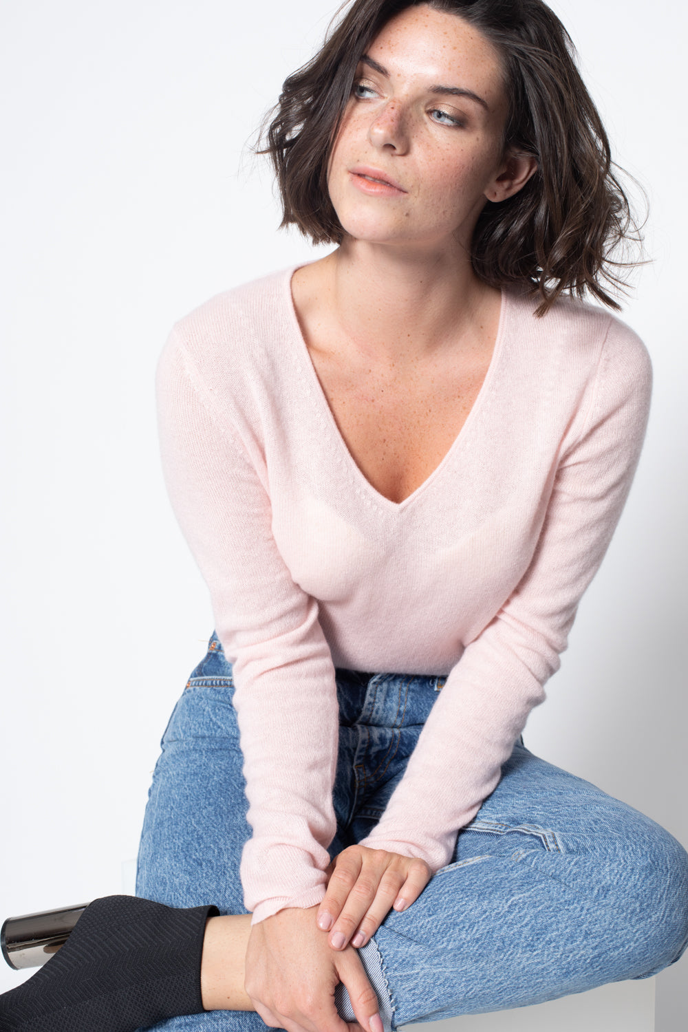 Pull Col V GALISE Baby Pink, 100% Cachemire
