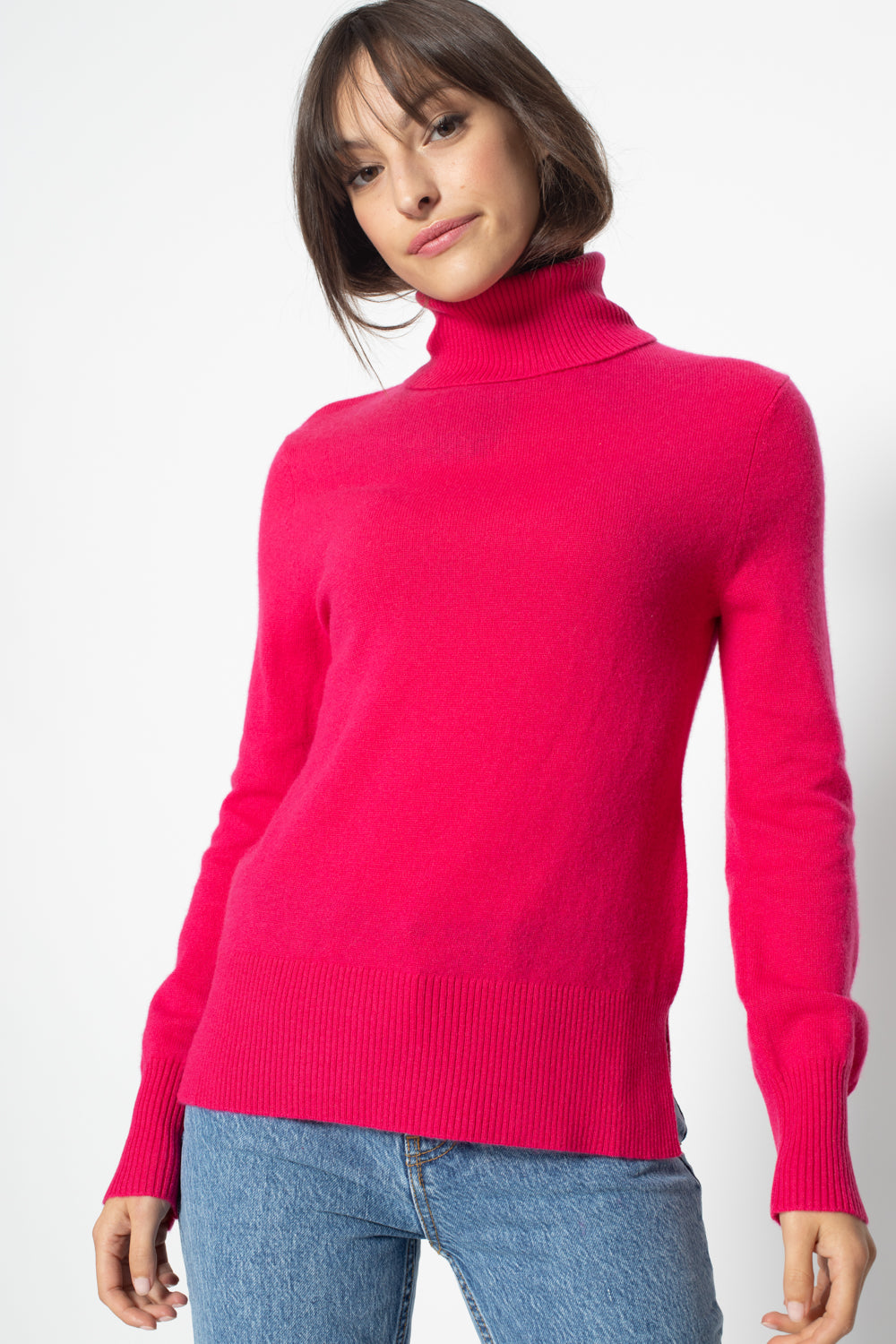 Pull Col Roule ample FORNET Fushia, 100% Cachemire