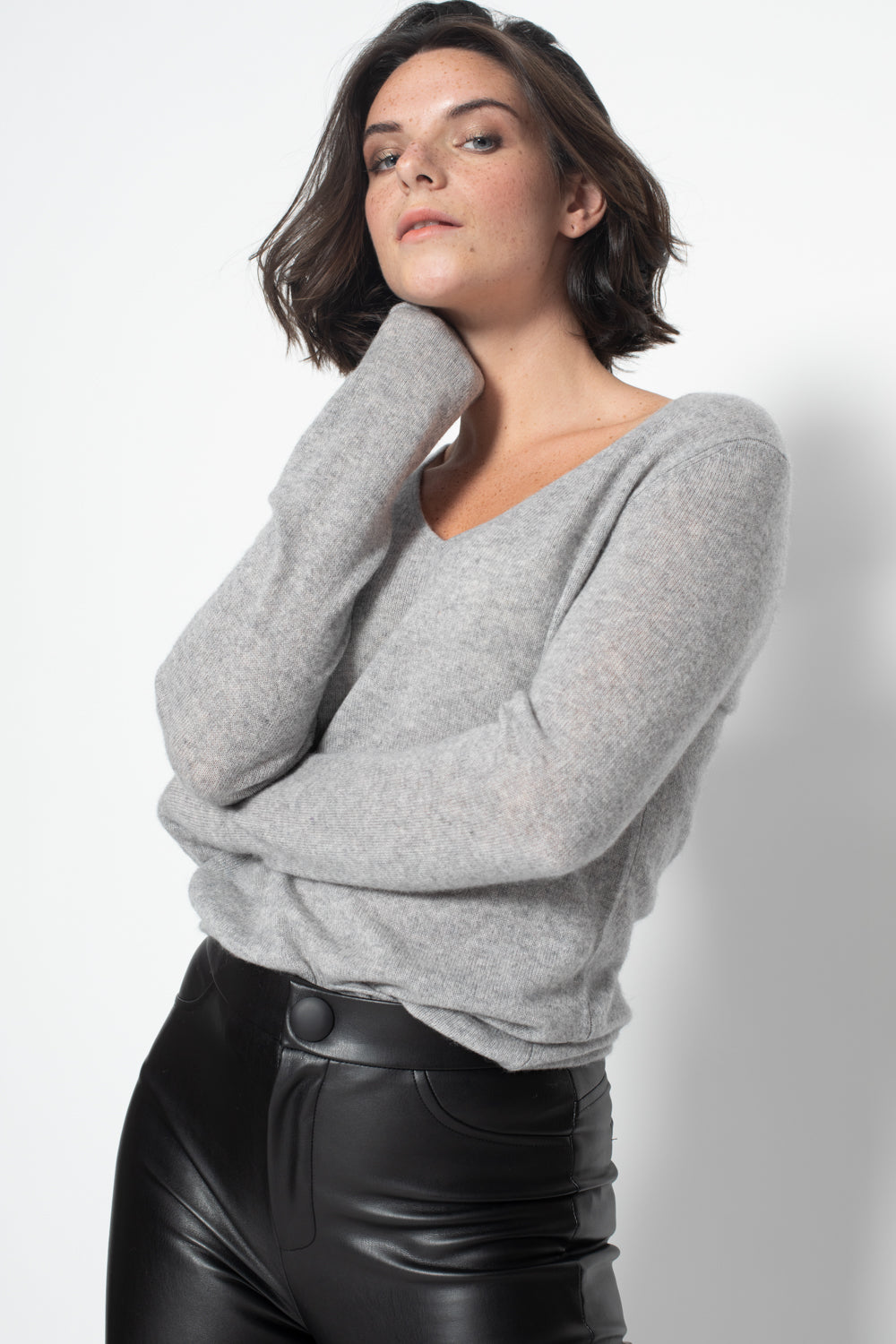 Pull Col V GALISE Gris, 100% Cachemire