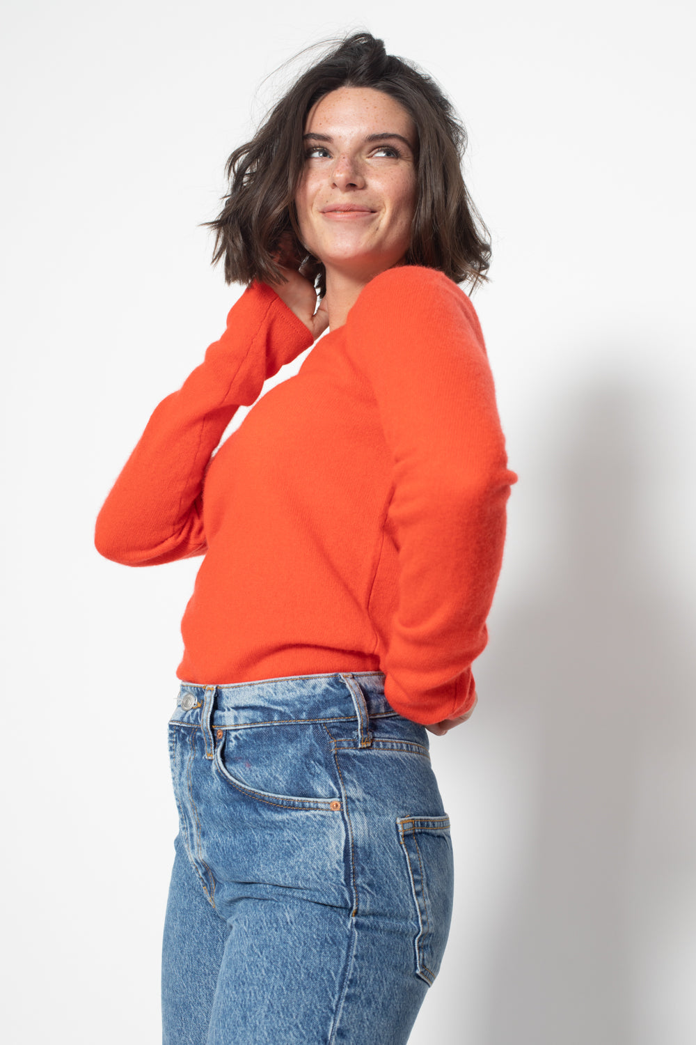 Pull Col V GALISE Orange, 100% Cachemire