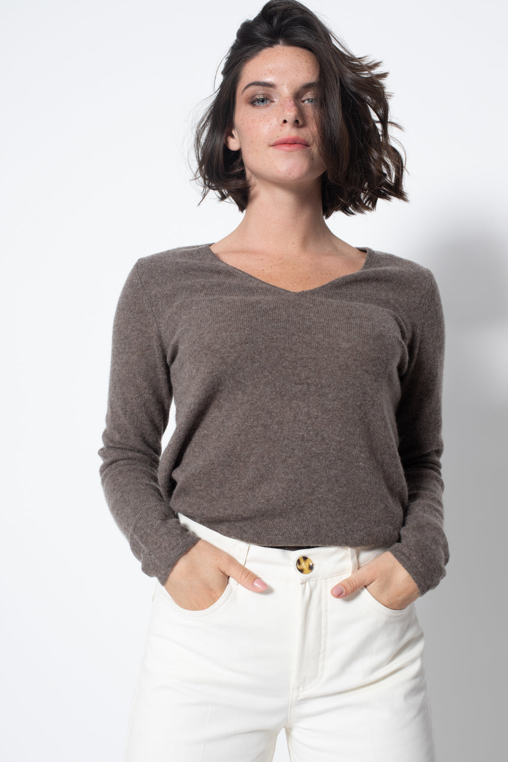 Pull Col V GALISE Taupe, 100% Cachemire