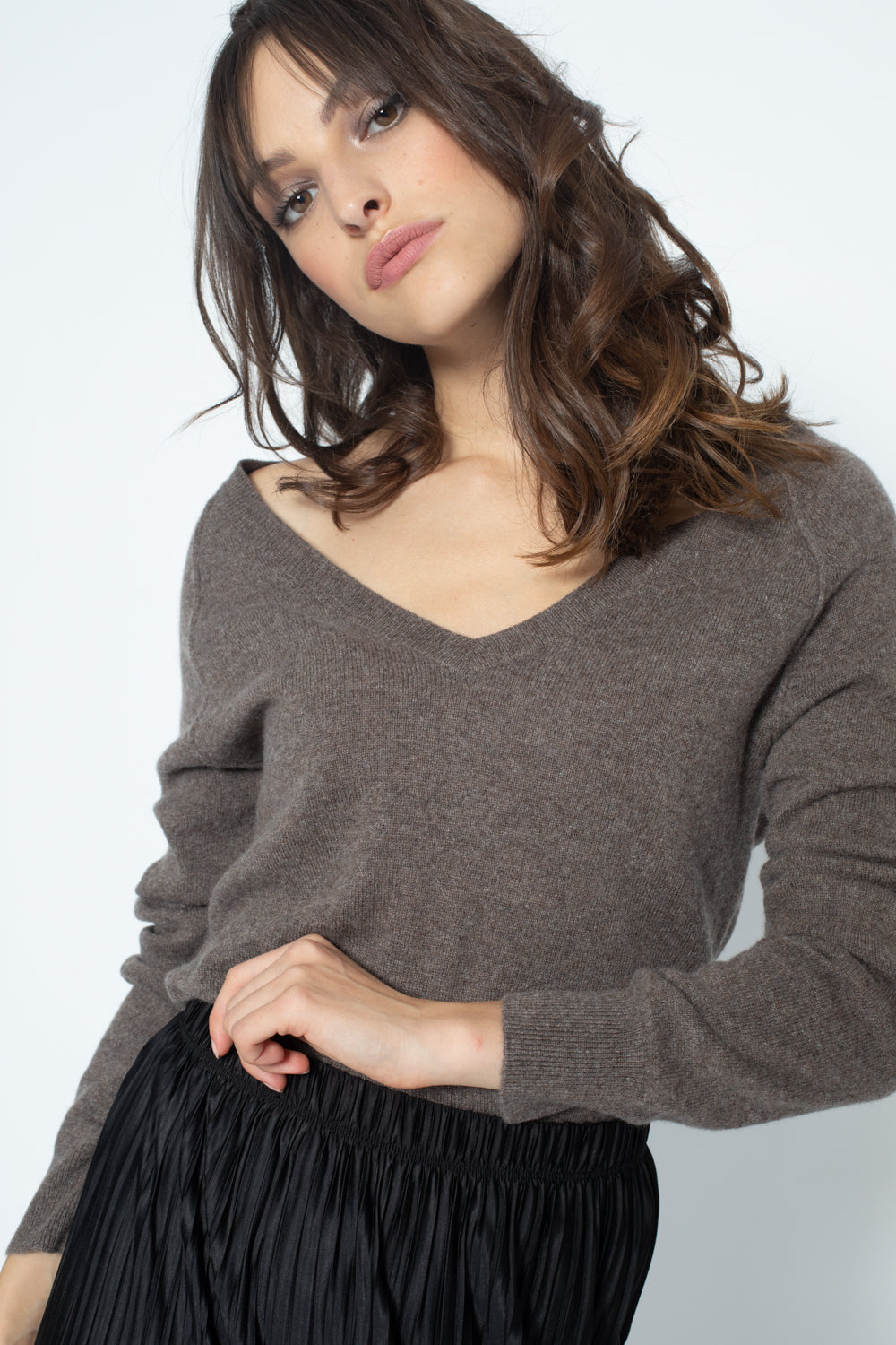 Pull Col V Loose giusalet Taupe 100% Cachemire