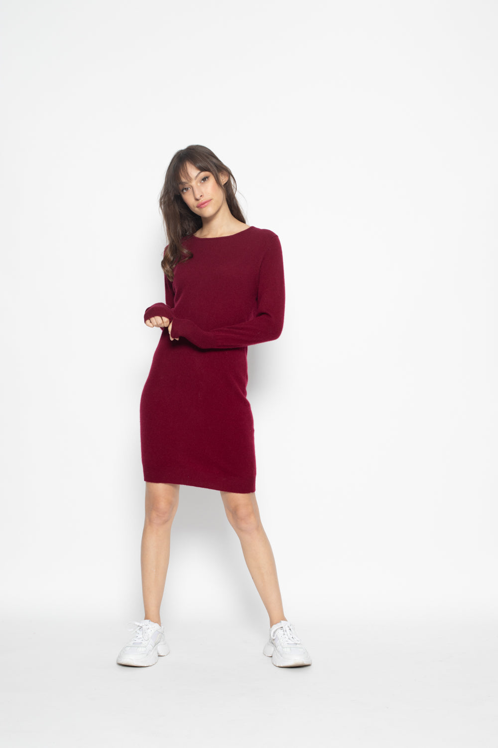 Robe Col Rond armet Burgundy 100% Cachemire