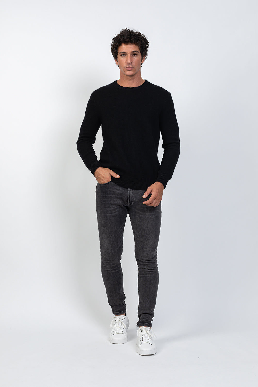 Pull col rond 4 fils VICTOR Noir