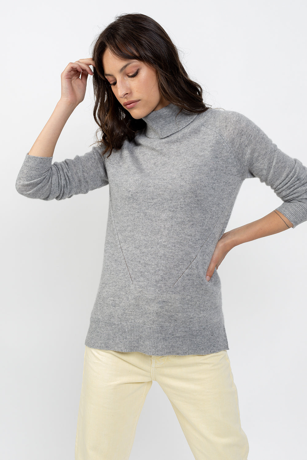 Pull col roulé MADELINE Gris chiné