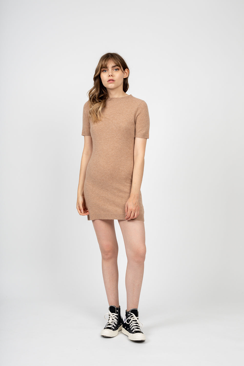 Robe col rond manches courtes LYNN Camel