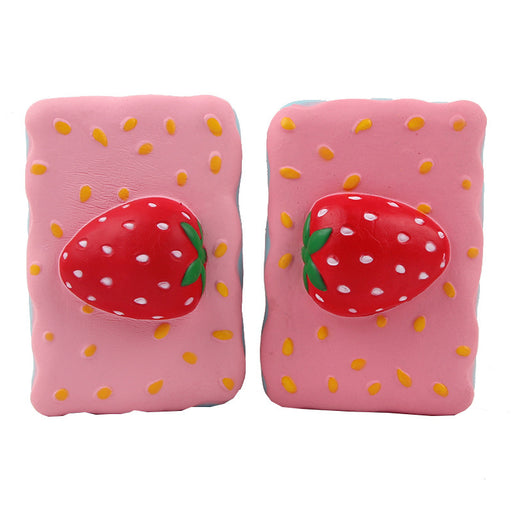 Kawaii Korean Japanese Square Strawberry Cake Crafts Christmas Squishy