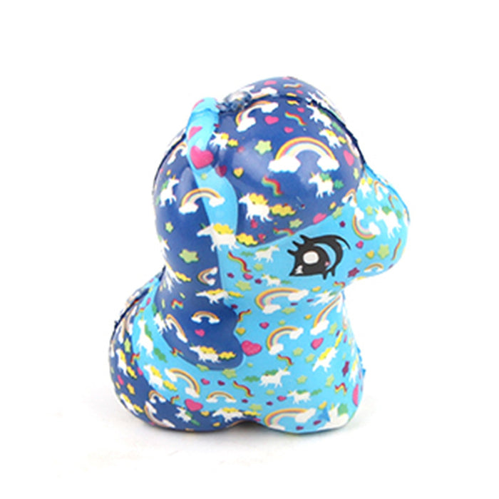 Silly Squishy - Color print slow bounce rainbow sitting horse Squishy