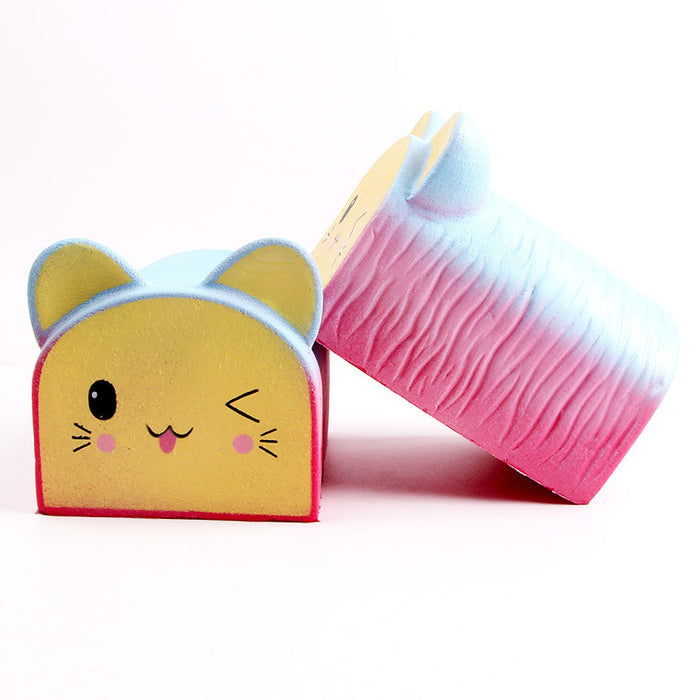 Silly Squishy - Rainbow colored cat head bread Squishy
