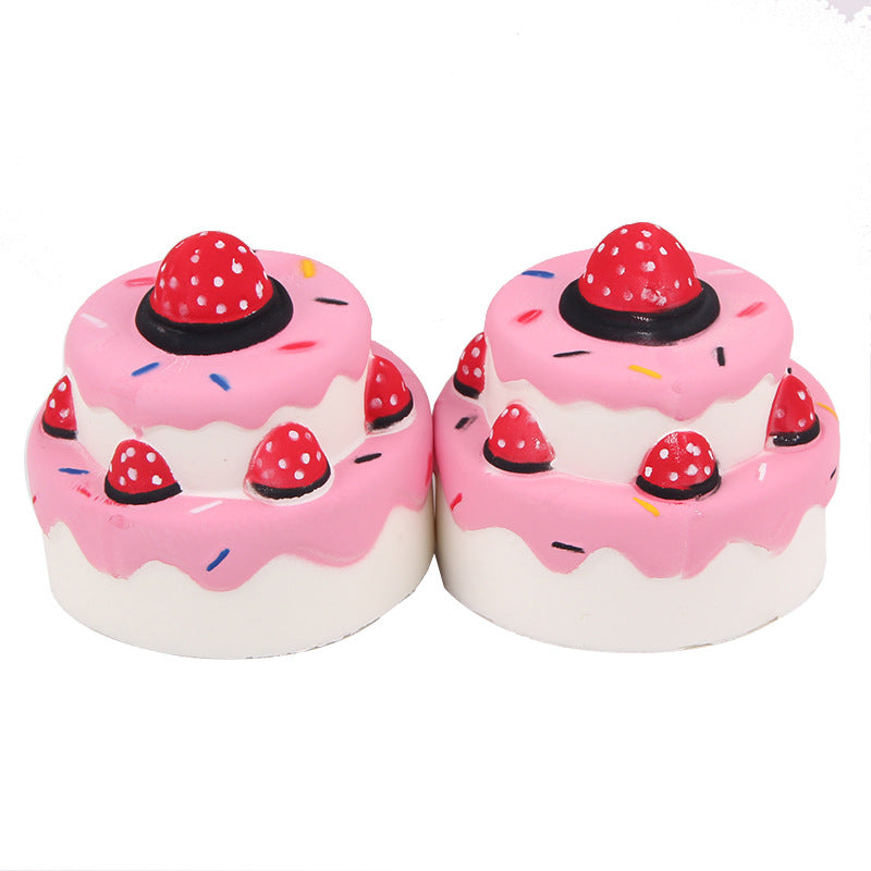 Silly Squishy - Kawaii Korean Japanese Rebound double layer strawberry cake Squishy