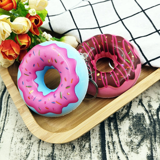 Silly Squishy - Color printing colored doughnuts slow bounce PU simulation food pendant