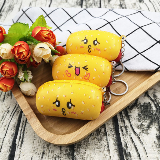 Silly Squishy - Color printed hot dog PU slow bounce pendant interesting dessert cake squishy model