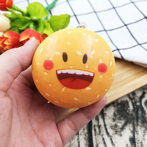 Silly Squishy - Small emoji burger slow rebounder  key chain Squishy