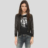 Adah Black Bomber Leather Jacket 1