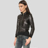 Adah Black Bomber Leather Jacket 3
