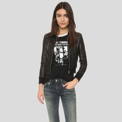 Adah Black Bomber Leather Jacket 4