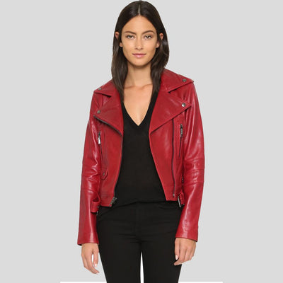 Berta Red Biker Leather Jacket 2