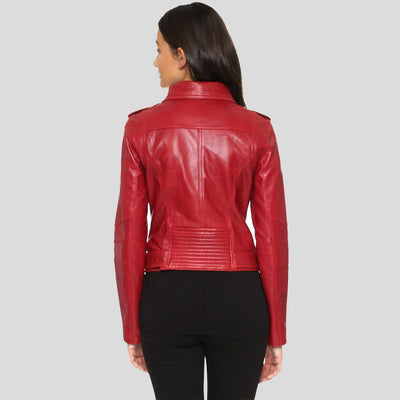 Berta Red Biker Leather Jacket 3