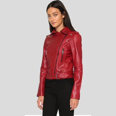 Berta Red Biker Leather Jacket 4