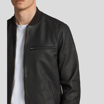 black bomber leather jacket xander mens 3