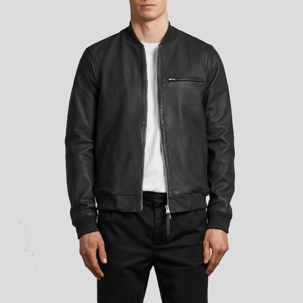 black bomber leather jacket xander mens 1