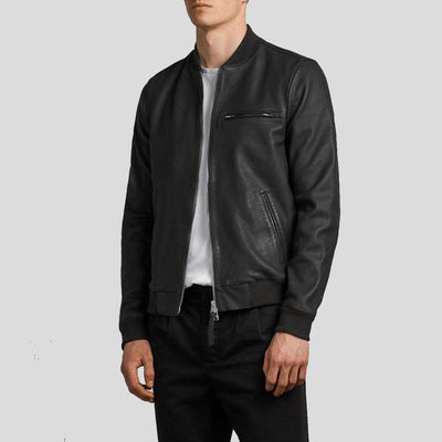 black bomber leather jacket xander mens 2