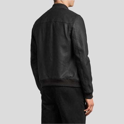 black bomber leather jacket xander mens 4