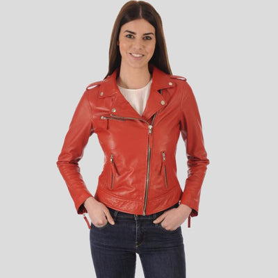 Bristol Red Biker Leather Jacket 1