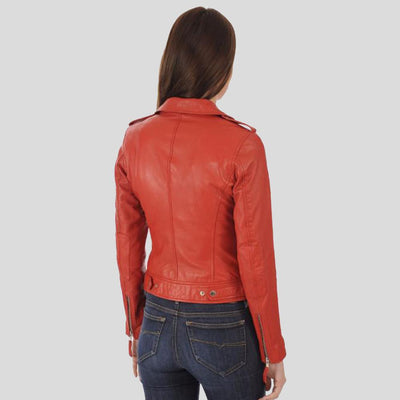 Bristol Red Biker Leather Jacket 2
