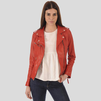 Bristol Red Biker Leather Jacket 4