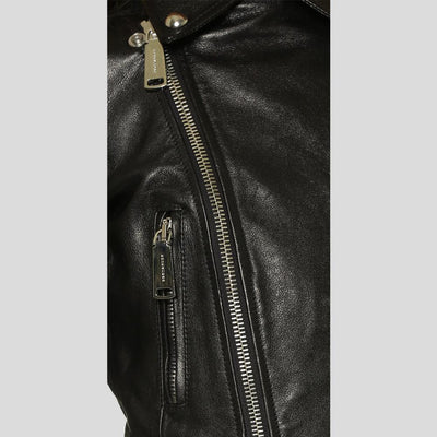 Calista Black Biker Fringes Leather Jacket 2