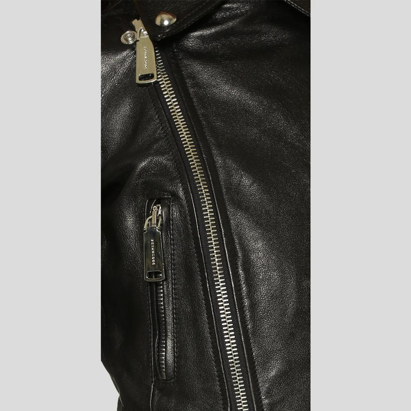 Calista Black Biker Fringes Leather Jacket 1