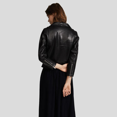 Cameron Black Biker Leather Jacket 3